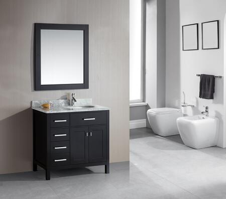 DEC076D-L London 36 inch  Single Sink Vanity Set in Espresso Finish with Drawers on the