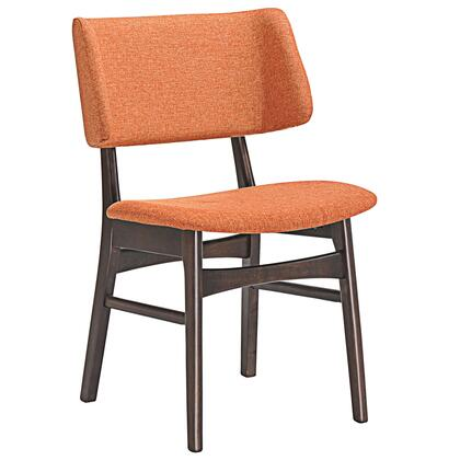 Vestige Collection EEI-1610-WAL-ORA Dining Side Chair with Wood-Grained Dark Walnut Veneer Materials  Foam Filled Cushion and Linen Upholstery in Walnut Orange
