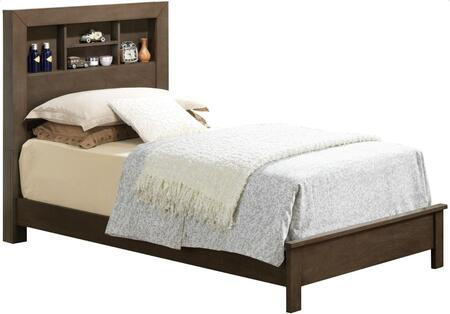 G2405B Collection G2405B-TB2 Twin Size Bed with Bookcase Headboard and Wood Construction in Grey