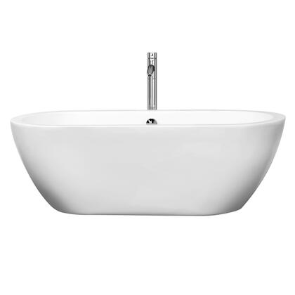 WCOBT100268ATP11BN 68 in. Center Drain Soaking Tub in White with Floor Mounted Faucet in Brushed