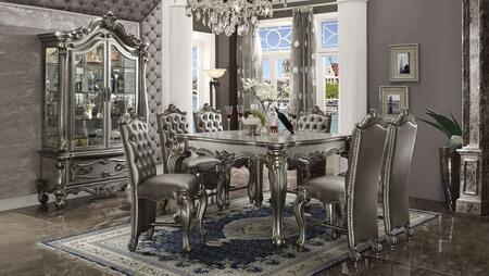 Versailles Collection 668358 8 PC Counter Height Dining Set with Square Shaped Counter Height Table  Curio Cabinet and 6 PU Leather Upholstered Counter Height