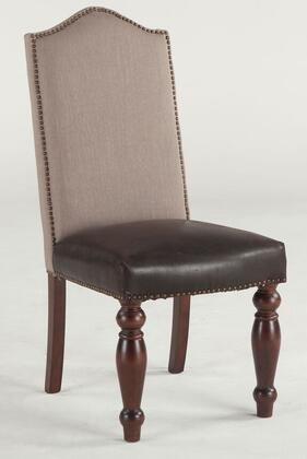 Emilia ZWEI63BLDTG 20 inch  Dining Chair with Nail Head Trim  Linen Upholstered Back and Distressed Top Grain Leather Seat Upholstery in Brown