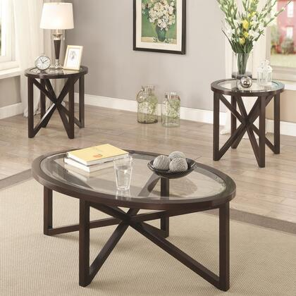 Occasional Table 701004 3 PC Accent Table Set with 2 End Tables  Coffee Table  Beveled Tempered Glass Top and Asterisk Design Wood Base in Cappuccino