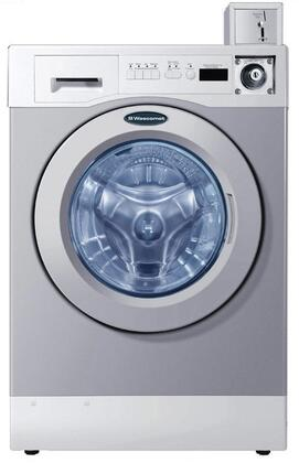 "Grey Front Load Coin Operated Laundry Pair with WHWF09810M 27"""" Washer and DAWF0EM 28"""" Electric"" 719762"