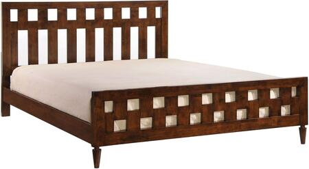 800313 La Collection King Size Bed with Wood Veneer  Slats Included  Open-Frame Design Headboard and Wooden Legs  in