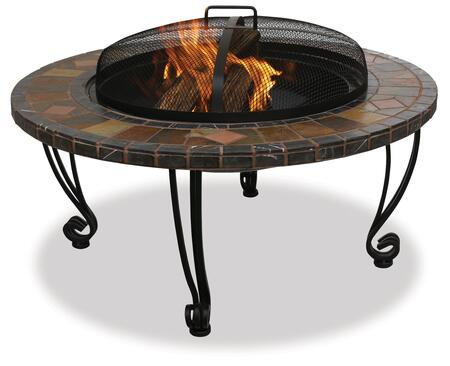 "WAD820SP UniFlame 34"" Diameter Woodburning Outdoor Firepit with Slate and Marble Outer Ring (with Copper"