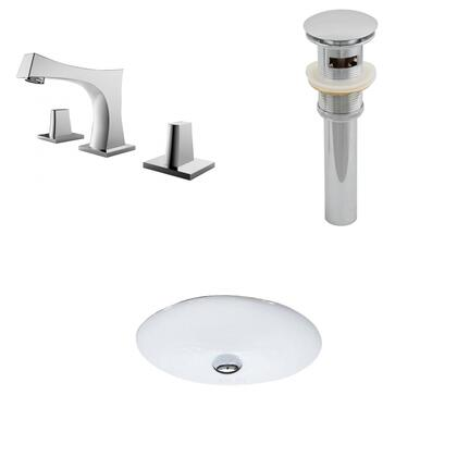 AI-13226 19.5-in. Width x 16.25-in. Diameter CUPC Oval Undermount Sink Set In White With 8-in. o.c. CUPC Faucet And