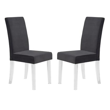 Dalia Collection LCDACHBL Modern and Contemporary Dining Chair in Black Velvet with Acrylic Legs - Set of