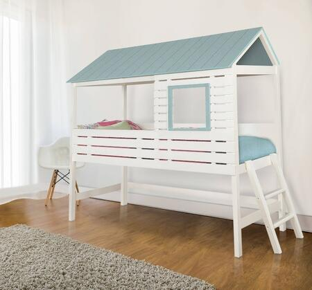 Omestad Collection CM7135-BED Twin Size Loft Bed with Angled Ladder  House Design  Authentic Roof Top  Cut-Out Windows and Wood Veneers Construction in White