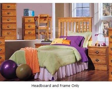 Carolina Oak 237430-982000-79091 63 inch  Twin Sized Bed with Metal Frame and Slat Headboard in Golden