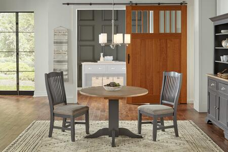 Port Townsend Collection POTSPDLT2USC 3-Piece Dining Room Set with Drop Leaf Table and 2x Upholstered Side Chairs in Gull Grey and Seaside Pine