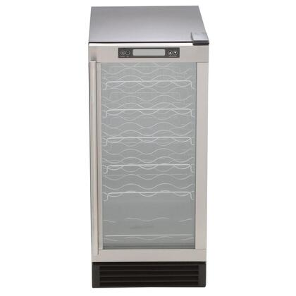 "MCWC28 15"" Indoor Wine Cooler with Stainless Steel Exterior  Reversible stainless Steel Door  Air-Cooled Condenser and Automatic Overflow Prevention in"