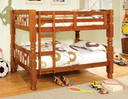 Carolina Collection CM2527OAK-BED Twin Size Bunk Bed with Bold and Sturdy Design  4 PC Slats Top and Bottom  Solid Wood and Wood Veneers Construction in Oak