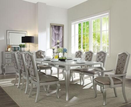 Francesca Collection 62080SET 10 PC Dining Room Set with Extendable Dining Table  Server  6 Side Chairs and 2 Arm Chairs in Champagne