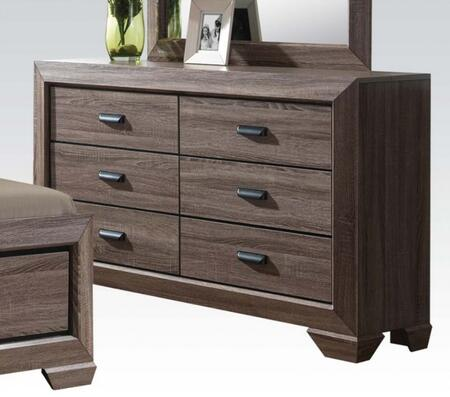 Lyndon Collection 26025 59 inch  Dresser with 6 Drawers  Shaker Style Sloped Leg  Solid Tropical Wood and Paper Veneer Materials in Weathered Grey Grain