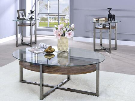 Janette Collection 80560SET 3 PC Living Room Table Set with Coffee Table + 2 End Tables in Black Nickel and Weathered Oak