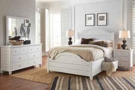 Chesapeake Collection 167396979899KT5SET 5 PC Bedroom Set with King Size Storage Bed + Dresser + Mirror + 2 Nightstands in Coastal White