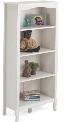 Lindsay Collection 28430 55 inch  Bookcase with 3 Adjustable Shelves and Shaped Top and Bottom Skirts in Stone White