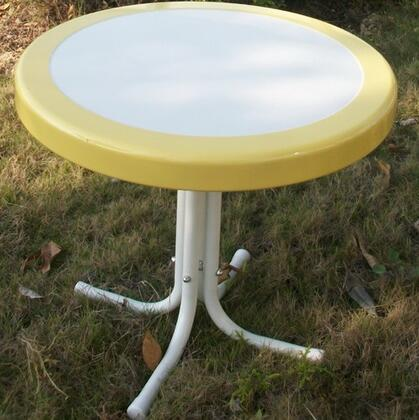 Retro Collection 71120 22 inch  Round Table with Circular Metal 2-Tone Top and Shaped Legs in
