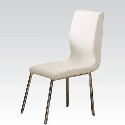 Kilee Collection 70992 18 inch  Side Chair with PU Leather Upholstered Seat and Back  Polished Metal Legs and Stitched Detailing in White