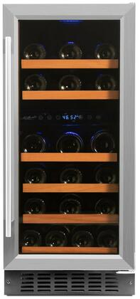 RW88DR 15 inch  Dual Zone Wine Cooler with 32 Bottle Capacity  Low Profile Wood Accented Wine Shelf  Double Paned UV Shielded Glass Door with Stainless Steel