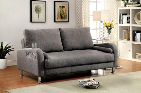 "Raquel Collection CM2195-PK 73"" Futon Sofa with Built-in Speakers  Cup Holders and Fabric Upholstery in"