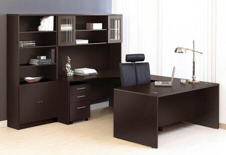 1C100010RES Espresso Executive U Shaped Desk with Hutch and
