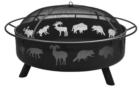 28915 Super Sky Fire Pit with 360 Degree View  36.5 Large Fire Bowl  Cooking Grate  Wildlife Pattern and Steel Construction in Black