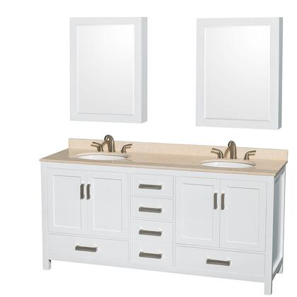 Wcs141472dwhivunomed 72 In. Double Bathroom Vanity In White  Ivory Marble Countertop  Undermount Oval Sinks  And Medicine