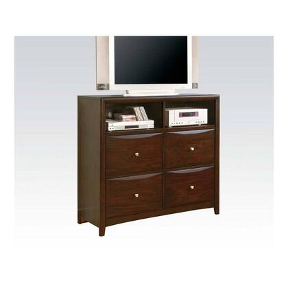 Manhattan Collection 07411 48 inch  TV Console with 4 Drawers  Shaped Drawer Fronts  Brushed Nickel Hardware and Open Compartments in Espresso