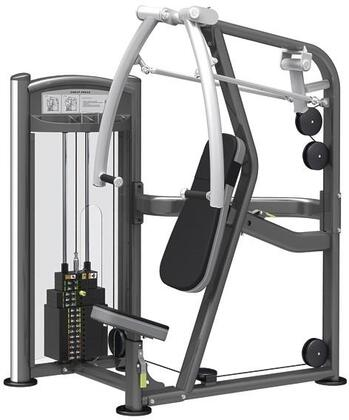 E-5091 Titanium Series 9331 Chest Press Machine with 200 lbs. Incremental Weight Stack  Military Grade Cables and High-Tech Oval Tubing in Black and