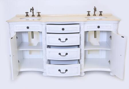 B1747W England Double Sink Vanity in a Whitewash Finish and a Cream Marfil Marble Top with a 1 inch  Attached