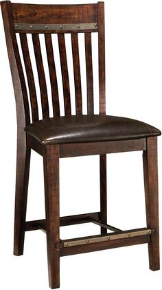 Hayden Collection HY-BS-460C-RSE-K24 24 inch  Slat Back Counter Stool with Rough Sawn Details  Metal Accents and PU Cushioned Seat in Espresso