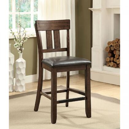 Brockton II Collection CM3355PC-2PK Set of 2 Counter Height Chair with Country Style  Slat Back and Padded Leatherette Cushion in Rustic