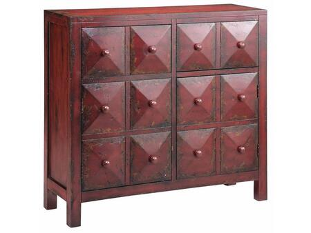 28287 Maris Accent Cabinet With Two Doors  Two Drawers  Pyramid Block Facings in Hand Painted Finish with Matching Button