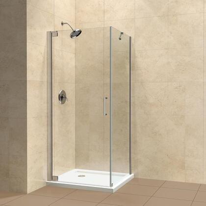 SHEN-4130321-01 Elegance 30 by 32 Frameless Pivot Shower Enclosure  Clear 3/8 Glass Shower  Chrome 332105