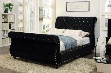 Noella Collection CM7128BK-EK-BED Eastern King Size Sleigh Bed with Nailhead Trim  Crystal-like Acrylic Button Tufting  Solid Wood Construction and Flannelette