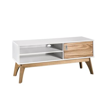"""CS96708 Rustic Mid-Century Modern Jackie 43.3"""""""" Tv Stand In White And Natural"""" 917760"""