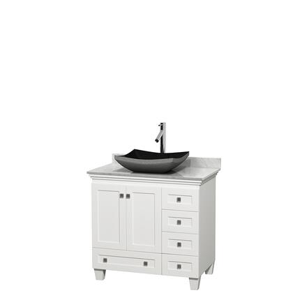 Wcv800036swhcmgs1mxx 36 In. Single Bathroom Vanity In White  White Carrera Marble Countertop  Altair Black Granite Sink  And No