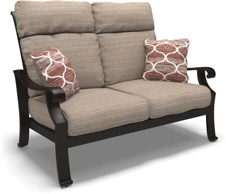 Chestnut Ridge Collection P445-835 57 inch  Outdoor Loveseat with Removable Cushions  Nuvella Fabric  Pillows Included and Rust-Proof Aluminum Construction in