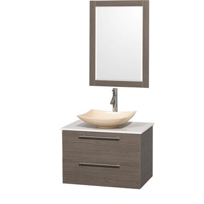 Wcr410030sgowsgs5m24 30 In. Single Bathroom Vanity In Gray Oak  White Man-made Stone Countertop  Arista Ivory Marble Sink  And 24 In.