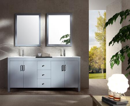 K072DGRY Ariel Hanson 72 inch  Double Sink Vanity Set with Black Granite Middle Countertop  Block Feet  Simple Pulls and Matching Framed Mirrors in