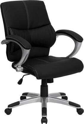 H-9637L-2-MID-GG Mid-Back Black Leather Contemporary Manager's Office