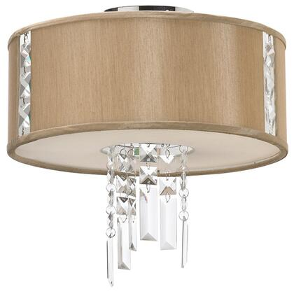 RTA-12SF-PC-838 2 Light Semi Flush With Crystal Accents  Polished Chrome Finish  Latte Shade With Fabric