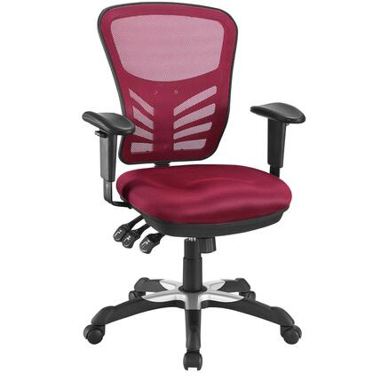 Articulate Collection EEI-757-RED Office Chair with Pneumatic Adjustable Height  Adjustable Armrests  Passive Lumbar Support and Mesh Fabric Seat Cushion in
