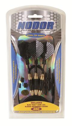 STA450 Steel Dart Set with 3 Painted Brass Barrels  2 Black Aluminum 20g. Shafts  6 2D and Embossed Flights  and SlimTrac