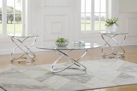 722373 3-Piece Living Room Table Set with Coffee Table  2 End Tables  Glass Tops and Interlocking Circle Base Design in