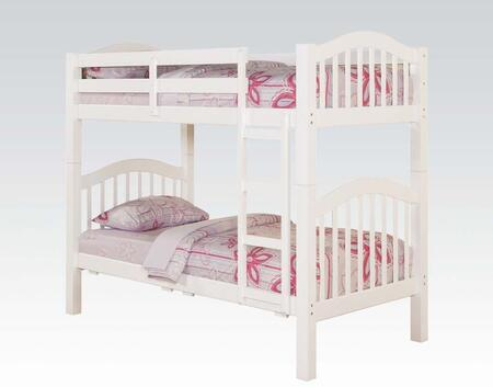 Heartland Collection 02354 Twin Over Twin Bunk Bed with Right Facing Front Ladder  Easy Access Guard Rail  Slat System Included and Wood Veneer Materials in