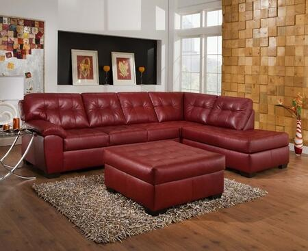 Shi 50440SO 2 PC Living Room Set with Sectional Sofa + Ottoman in Soho Cardinal