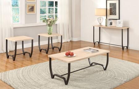 Isidore 80410CES 4 PC Living Room Table Set with Coffee Table + Sofa Table + 2 End Tables in Natural